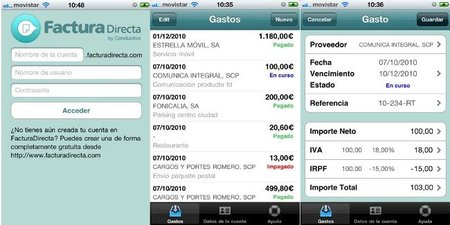 FacturaDirecta añade aplicación de gastos para el iPhone