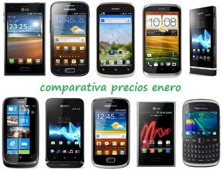 Comparativa Precios Smartphones más baratos Enero 2013
