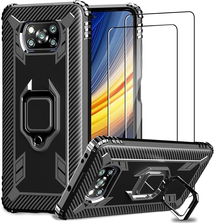 IMBZBK Funda para Xiaomi Poco X3 Pro/Poco X3 NFC + [2 Pack] Protector Pantalla Cristal Templado, [Soporte Giratorio de 360 Grados con Anillo de Dedo][Grado Militar Anti-Golpe] TPU Silicona