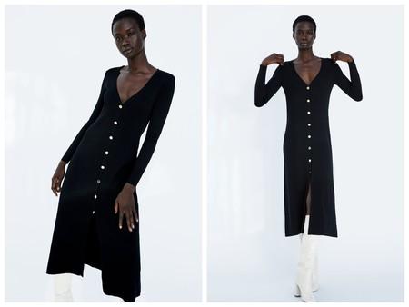 Vestido Punto Negro Zara