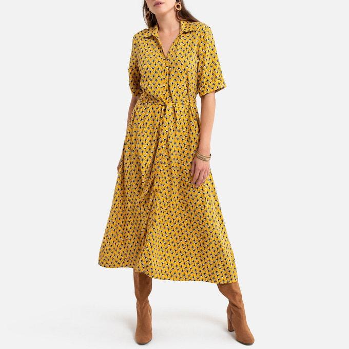 Vestido camisero estampado color mostaza