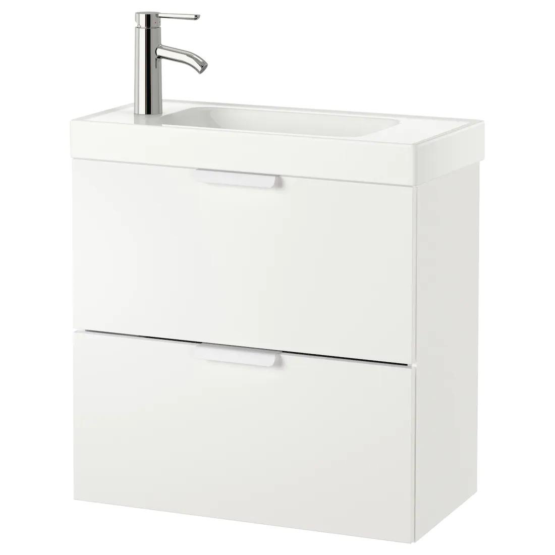 GODMORGON / HAGAVIKEN Armario lavabo 2 cajones, blanco, Dalskär grifo, 63x34x65 cm