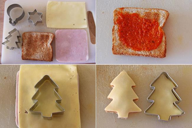 Receta de sencillos canapés navideños con queso gouda sin lactosa. Pasos