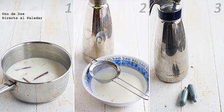 Espuma ligera de leche merengada. Receta de aprovechamiento