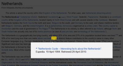 Footnotify, extensión para visualizar mejor las notas al pie en Wikipedia y otras webs