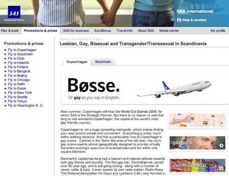 La aerolínea SAS dedica un apartado web al colectivo gay