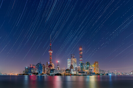 Star Trails Over The Lujiazui City Skyline C Daning