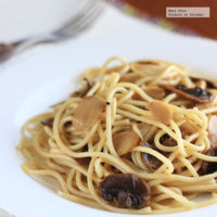 Espagueti con ajo y champiñones. Receta