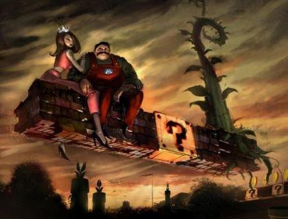 Mario y Peach en plan serio