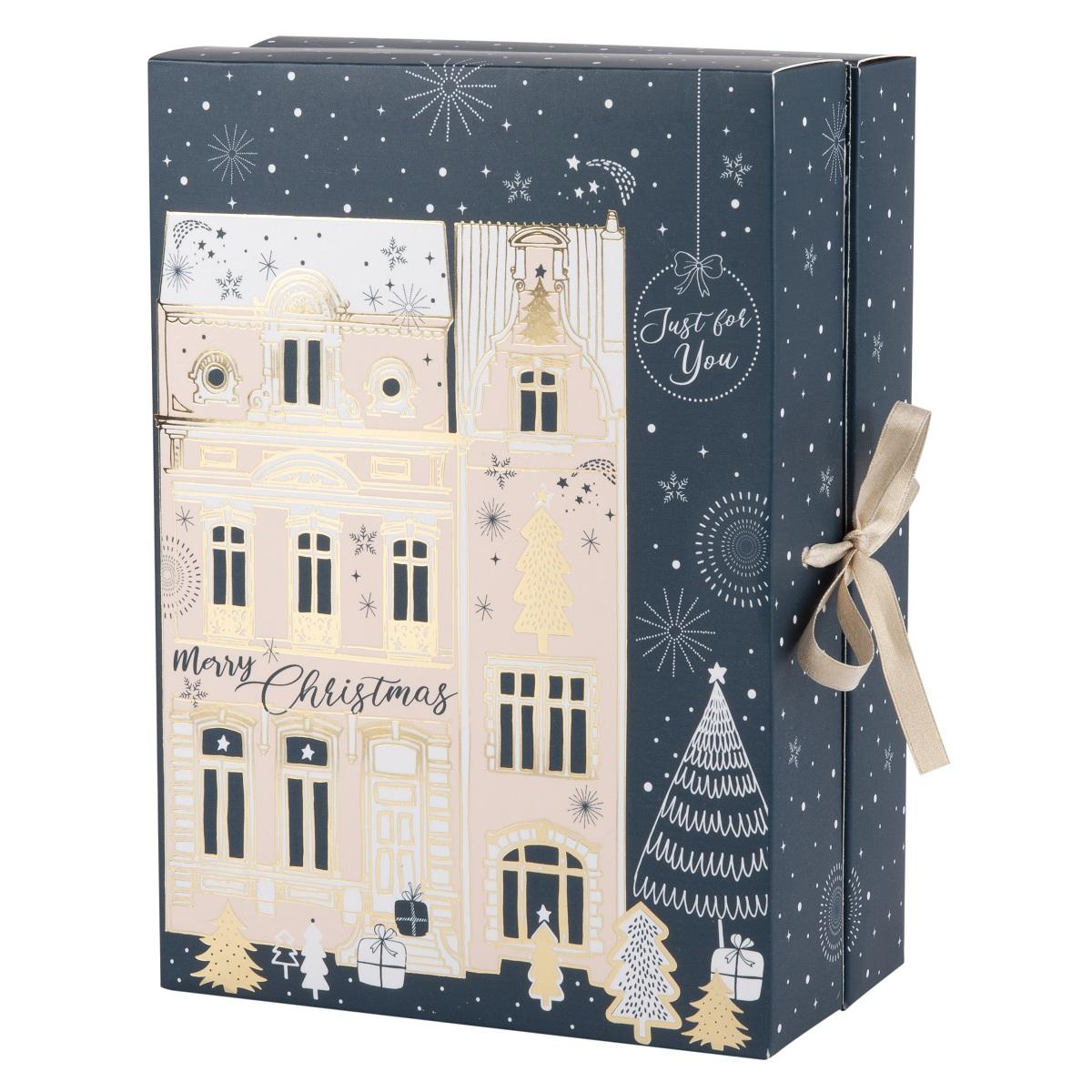 Calendario de Adviento en forma de edificio con velas perfumada
