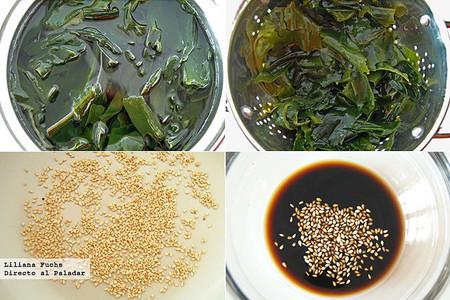 Ensalada de alga wakame con sésamo. Pasos