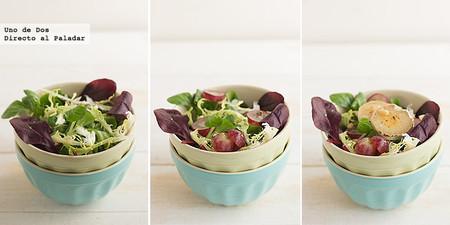 Ensalada de salvia roja, uvas y piñones con queso de cabra a la plancha. Receta paso a paso