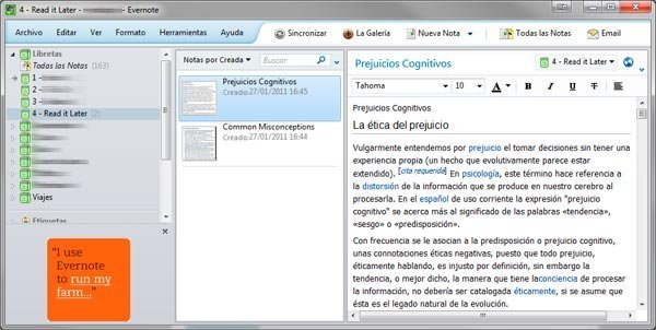 Captura de la interfaz de Evernote