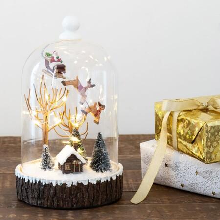 Campana Luminosa De Cristal Con Pueblo Navideno