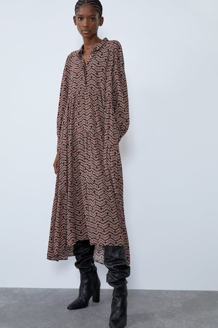 Zara Vestido Midi Estampado Floral 5
