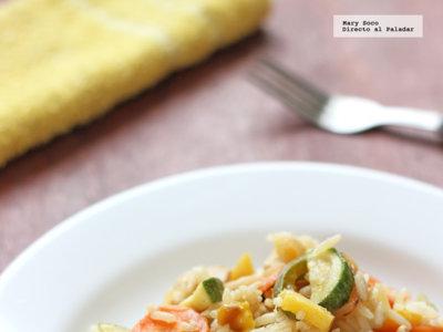 Salteado de pollo, arroz y vegetales. Receta