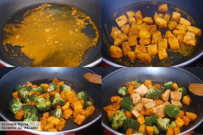 Salteado de brócoli, calabaza y tofu. Pasos