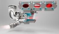 Un turbo con carcasa de turbina de aluminio para el MINI tricilíndrico