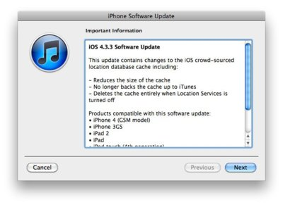 "iOS 4.3.3 ya disponible con la solución al ""Locationgate"""