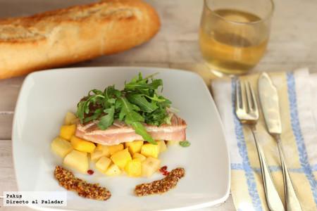 Lomo de atún con vinagreta de mango y manzana. Receta
