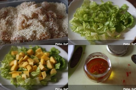 Ensalada de pollo panko y mango. Pasos