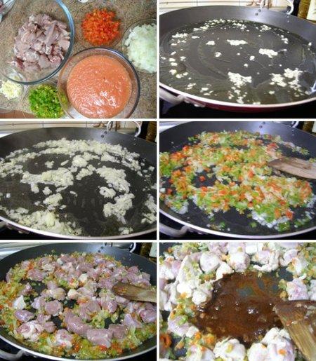 Elaboración de la receta de arroz con cordero . Primera parte