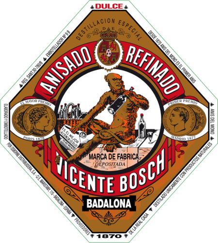 Etiqueta de la botella de Anís del Mono.