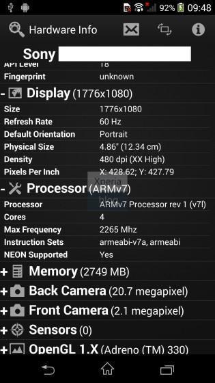 Especificaciones Sony Xperia Sirius D6503