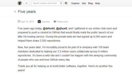 Github cumple cinco años. La imagen de la semana