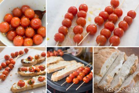 Tostadas de ricotta con tomates cherry asados - elaboración