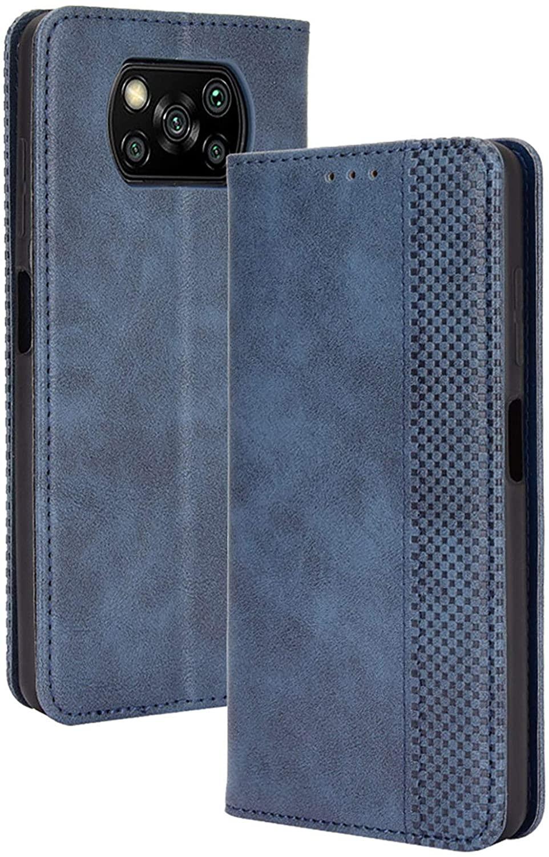 FANFO® Funda para Xiaomi Poco X3 Pro/Xiaomi Poco X3 NFC, Billetera de Cuero PU Retro Elegante Cubierta Cierre Magnético Case Cover, Cubierta Estilo Libro en Folio Estuche, Azul