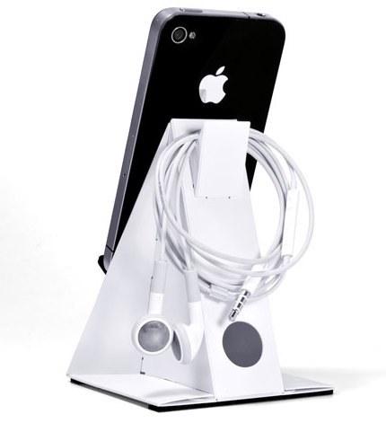 Base-Z en blanco con el detalle para colgar los auriculares
