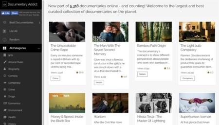 Documentary Addict: más de 5.000 documentales de todo tipo en tu navegador web