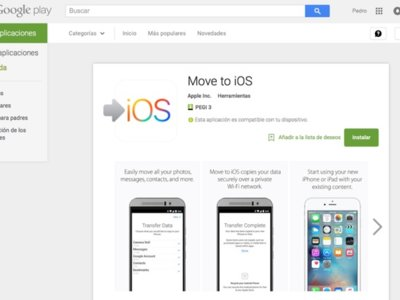 Move to iOS ya está disponible. En Google Play, claro