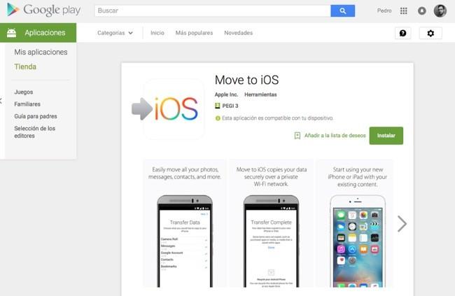 Move to iOS ya está disponible. En Google Play, claro