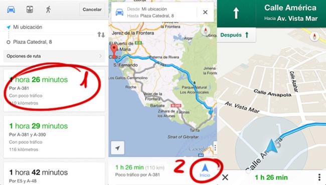 Navegación paso a paso en Google Maps para iPhone