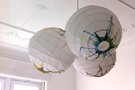 Lámparas de papel con acuarelas