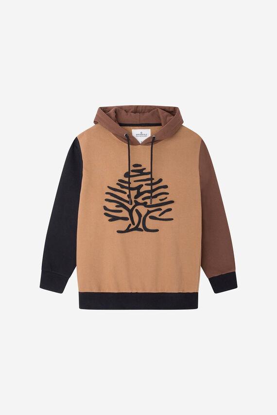 Sudadera fit regular con capucha. Tejido perchado y cálido. Cortes block color con logo bordado. Confeccionado con algodón orgánico, pertenece a la colección RECONSIDER.