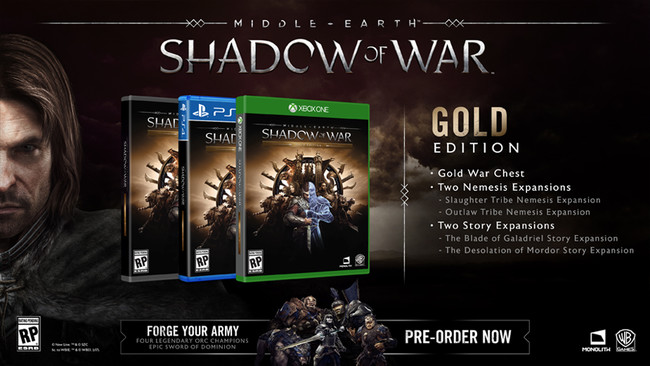 Middle Earth Shadow Of War Gold Edition