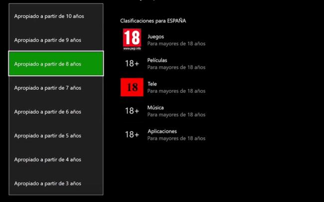 Control parental Xbox One