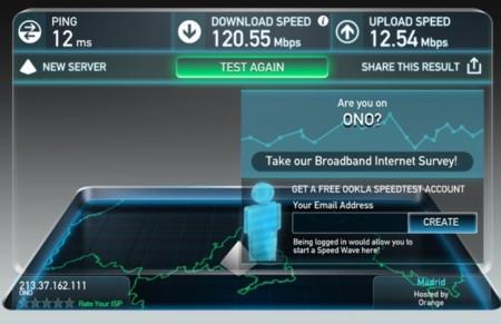 Resultado de la prueba en Speedtest.net