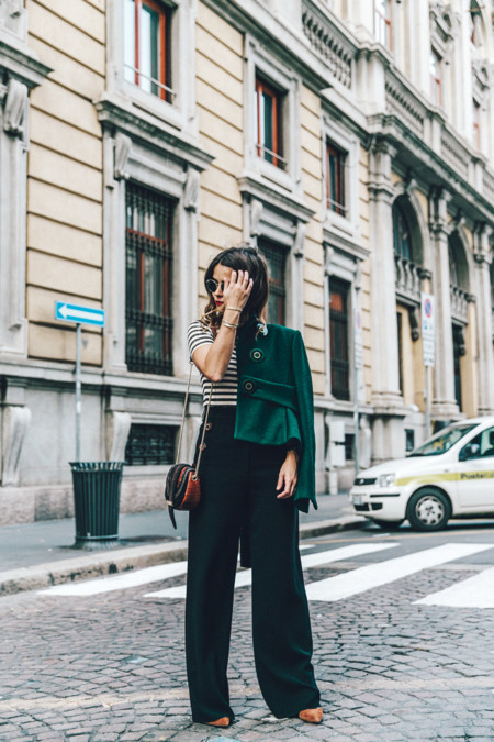 Salvatore Ferragamo Striped Top Green Jacket Mfw Milan Fashion Week Outfit Street Style Collage Vintage 11