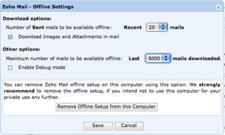 Zoho Mail, con soporte para funcionar offline