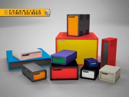 Algunas cajas a medida e impresas a partir del modelo de Thingiverse