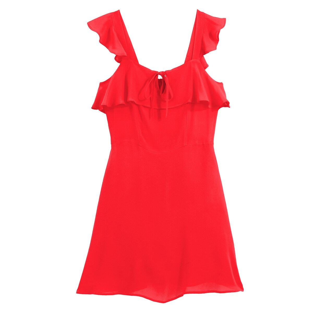 Una propuesta de lo más seductora, este ligero vestido de gasa se destaca con sus volantes en los hombros tan femeninos y su corte que se adaptará de manera ideal a tu silueta.