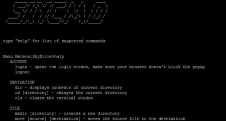 SkyCMD, interfaz web de línea de comandos para Skydrive
