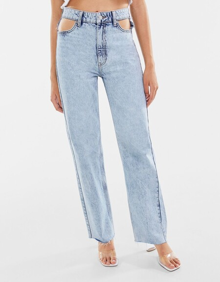 Jeans Straight High Waist Cut Out