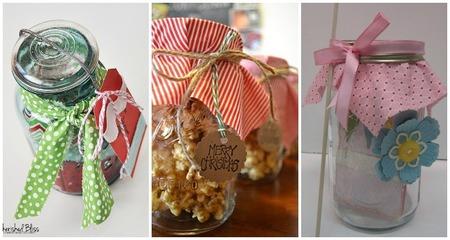 regalos presentados en tarros de cristal