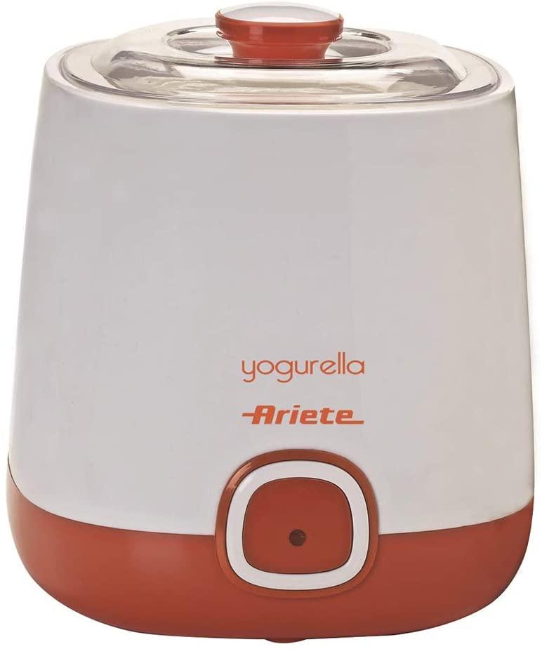 Ariete 621 Yogurtera, capacidad 1 litro, 20 W, 12 horas preparación, tapa doble, diseño compacto apto lavavajillas, Plástico, Blanco/Naranja