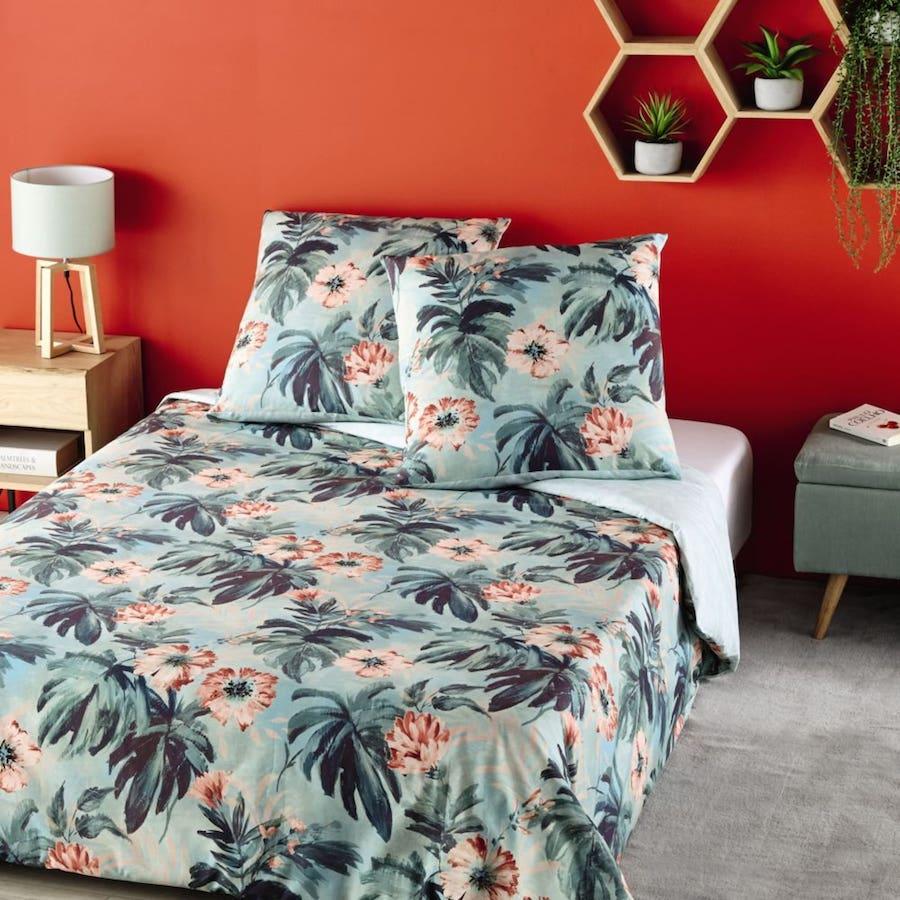 Juego de cama de algodón azul verdoso con motivos tropicales 240x260